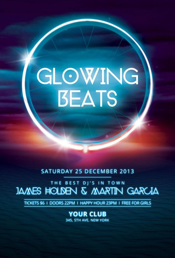 Glowing Beats Flyer Template  Graphic Design    Flyer