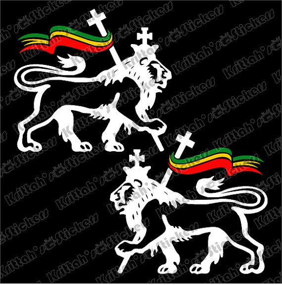 White lion of judah pair with rastafarian flag by krittahstickers