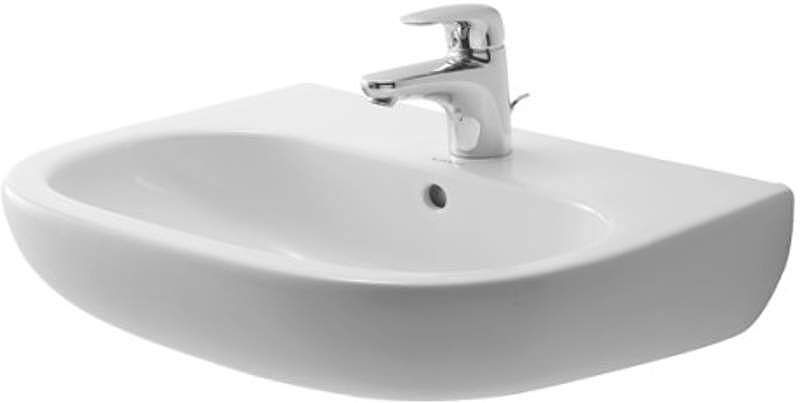 "Duravit 2310550000 D-Code 21-5/8"" Ceramic Bathroom Sink for Wall Mounted or Pede White Fixture Lavatory Sink Vitreous China"