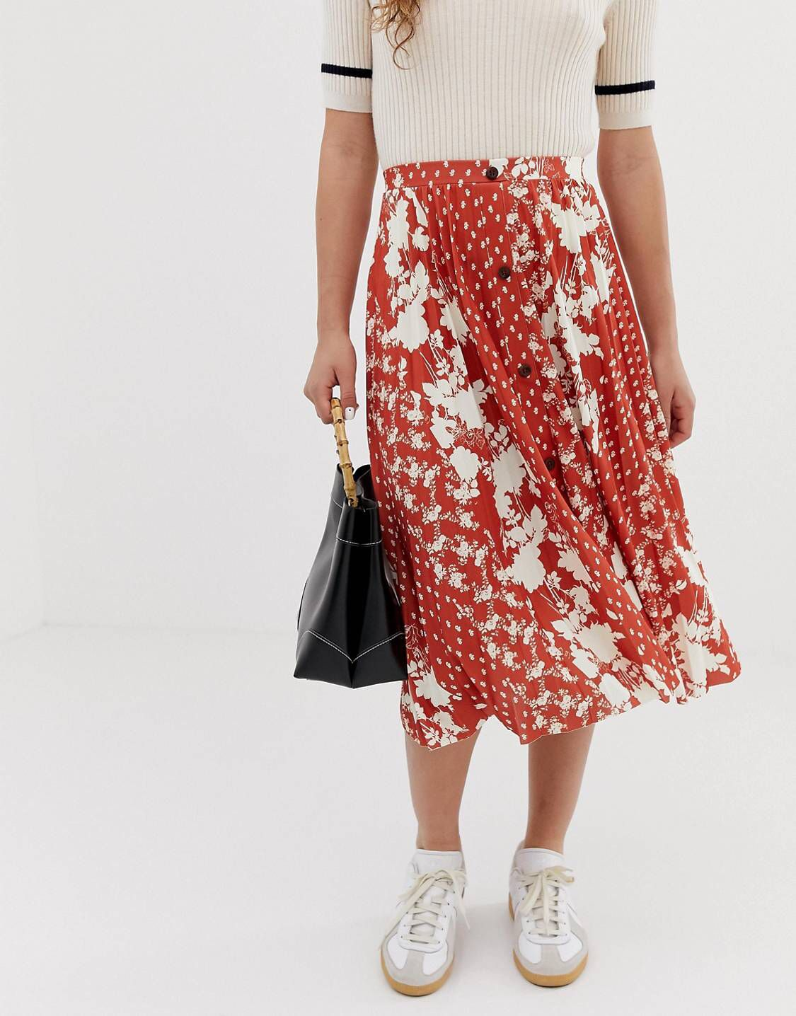 60099c5976 DESIGN button front pleated midi skirt in mixed floral print in 2019 ...