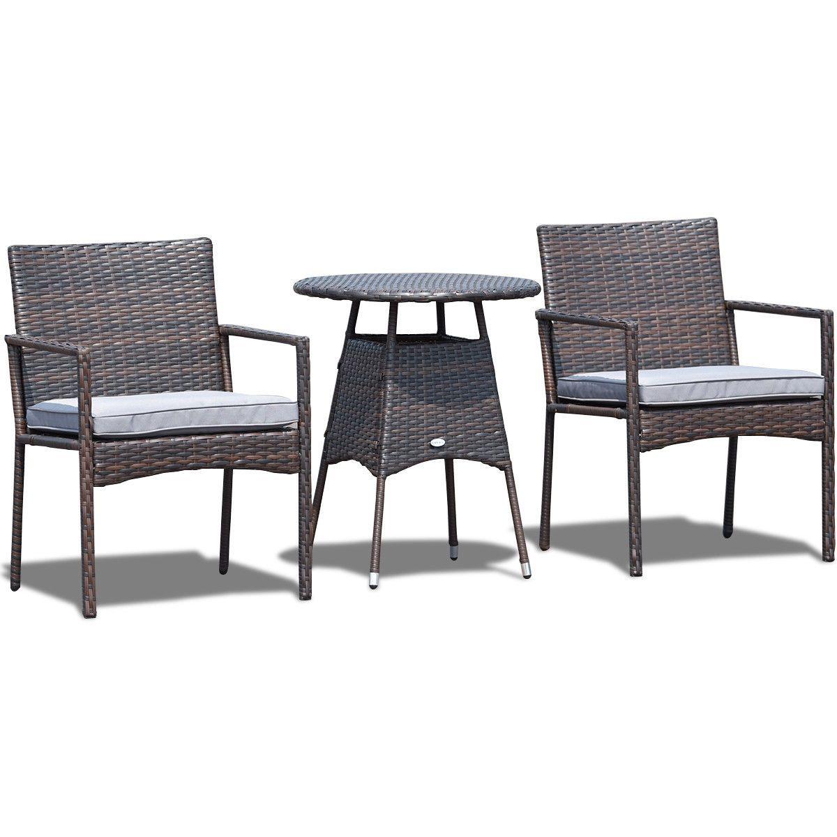 3 Pcs Outdoor Bistro Rattan Wicker Cushioned Seat Furniture Set Furniture Outdoor Furniture Sets Rattan Furniture