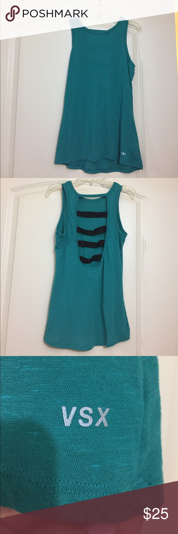 VSX tank Aqua/green VSX tank with black straps on back. Worn once! Victoria's Secret Tops Tank Tops