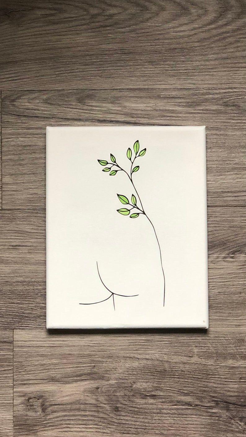 Female Body Line Art Canvas, Greenery/Leaves