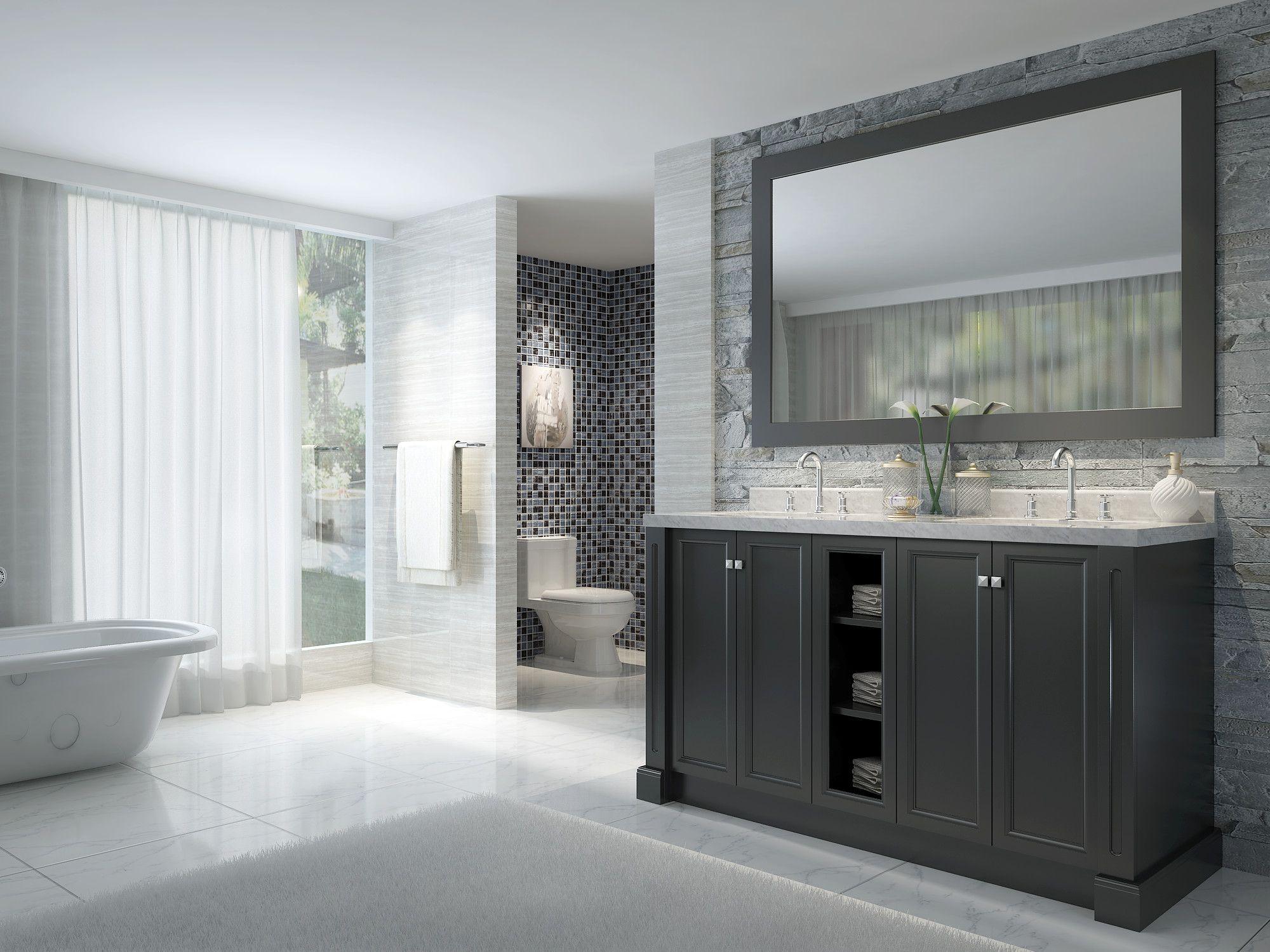 Design Element Hudson 60 Inch Double Sink Bathroom Vanity Set With