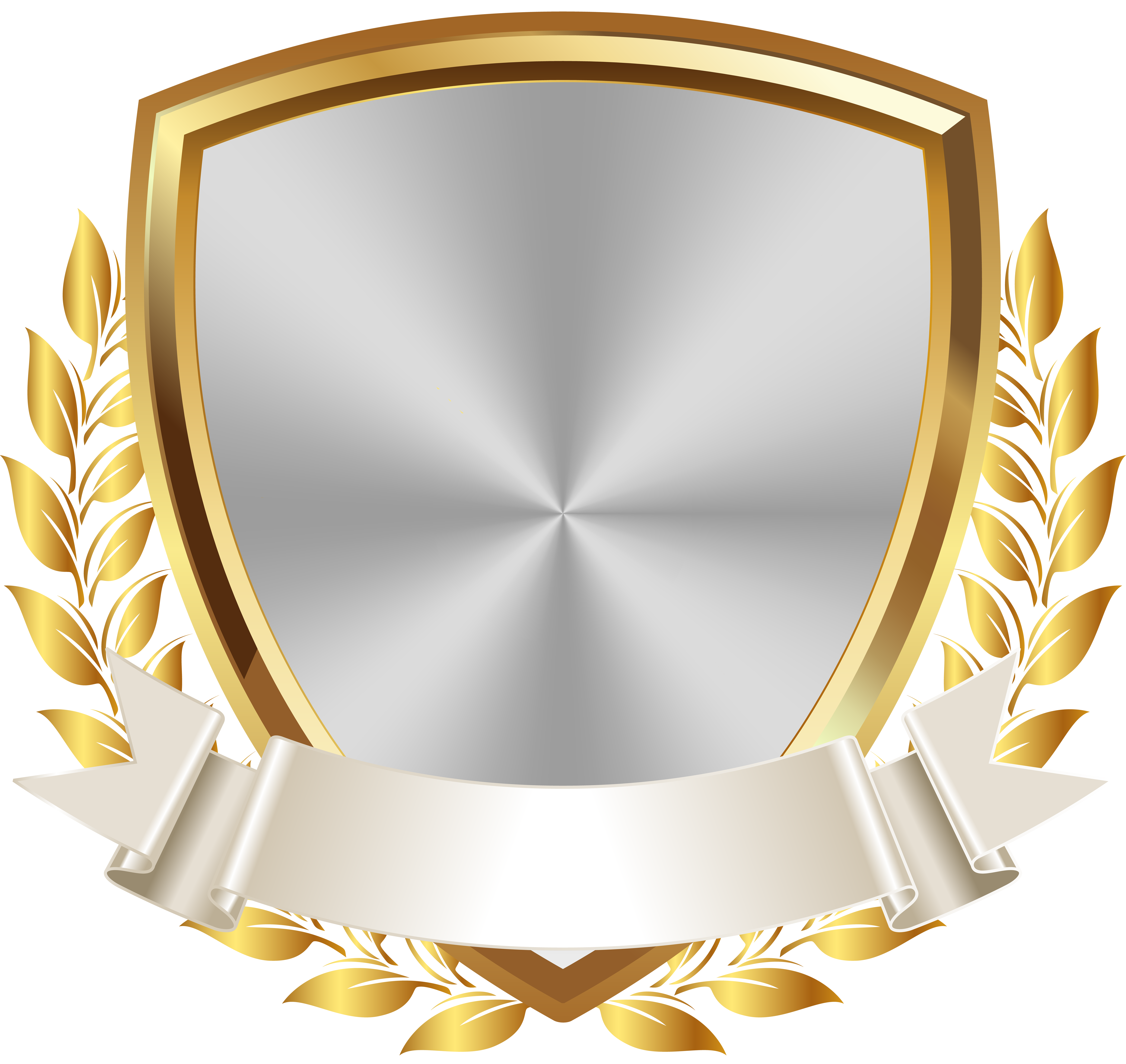 Gold White Badge with Banner PNG Clip Art Image Brasao