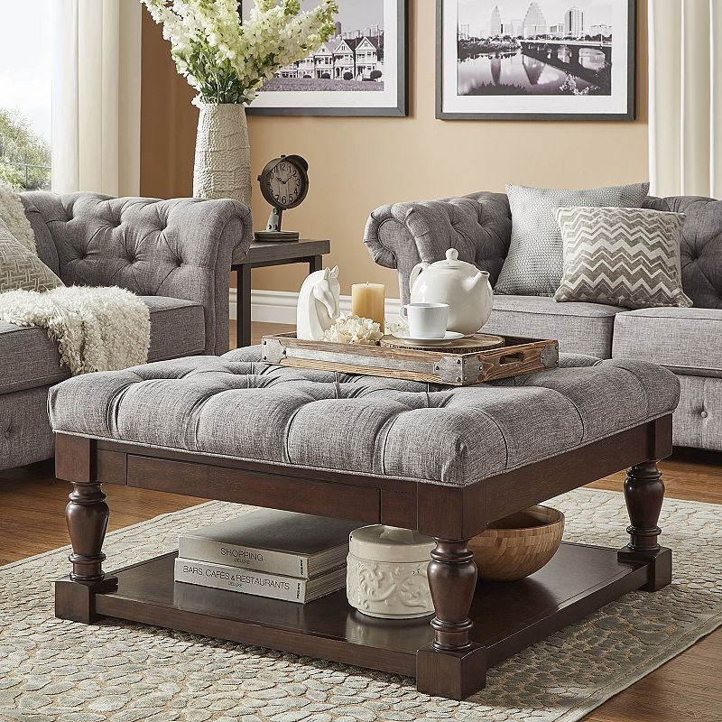 Homevance On Tufted Upholstered Coffee Table