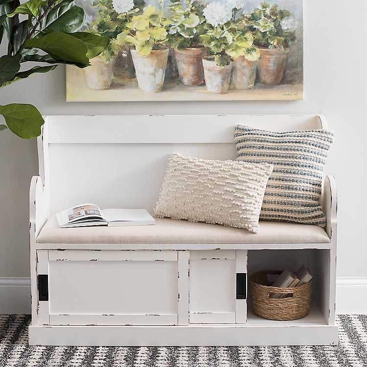 Prime Product Details White Storage Pew Bench With Fabric Cushion Ibusinesslaw Wood Chair Design Ideas Ibusinesslaworg