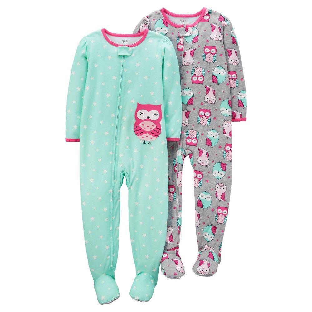 Infant /& Toddler Girls Mint Fleece Owl Sleeper Footie Pajama Sleep /& Play