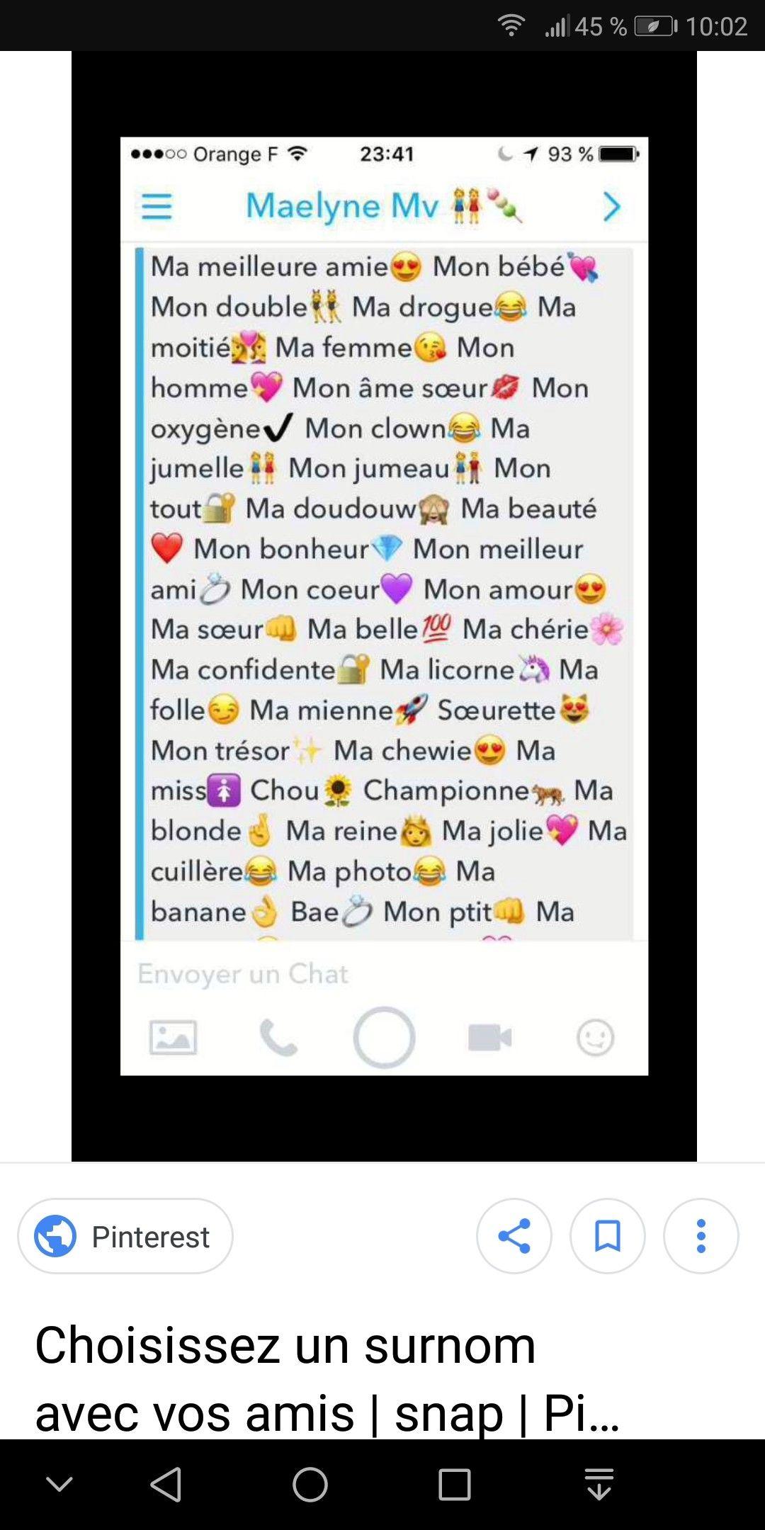 épinglé Par Douaa Bechlem Sur Snapchat Surnom Amie