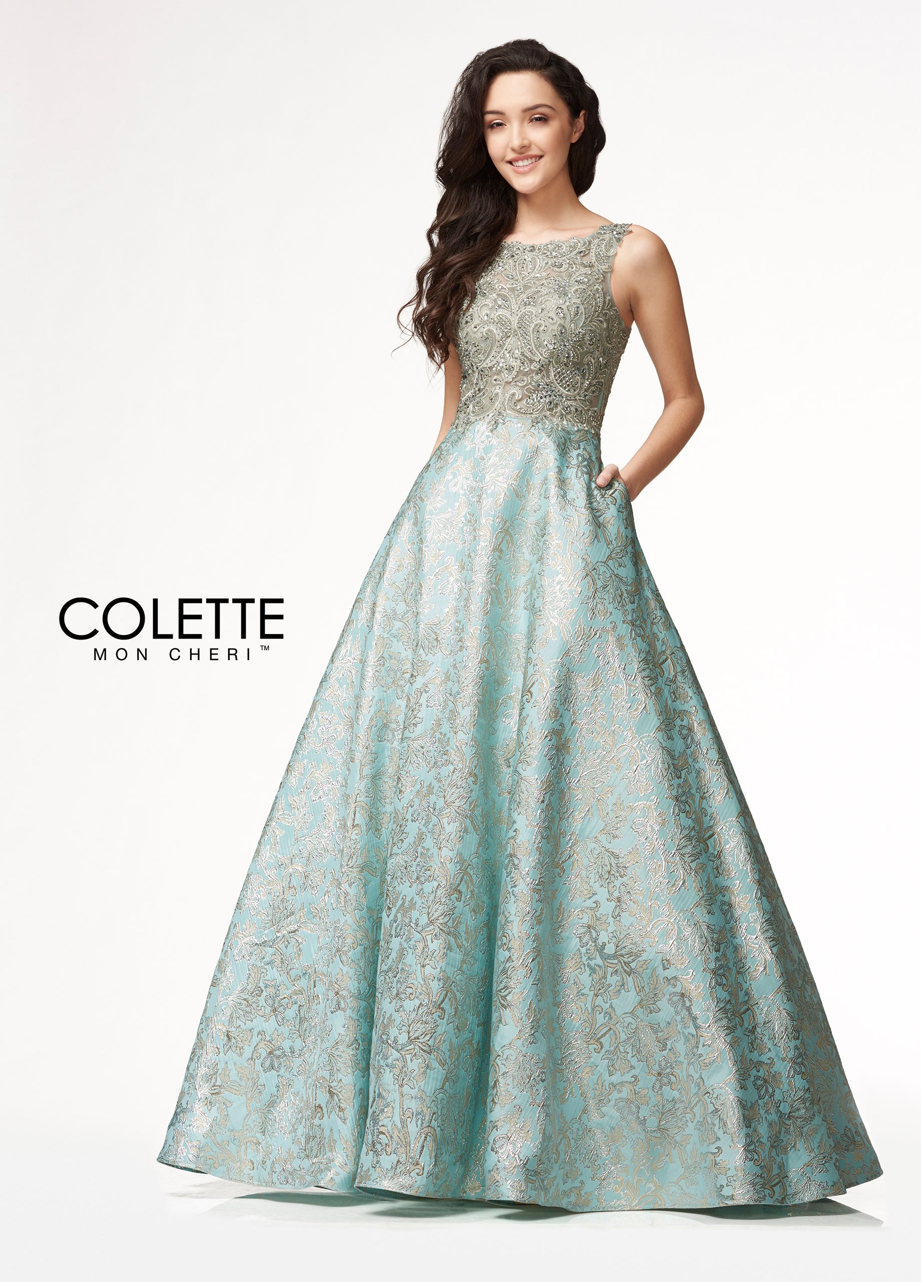 Sparkling Embroidered A-line Evening Dress - Colette for Mon Cheri ...