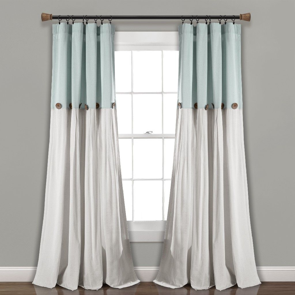 Linen Button Window Curtain Panels Single Blue Linen 40x95 Lush Decor 16t004043 In 2020 Living Room Decor Curtains Panel Curtains Cool Curtains
