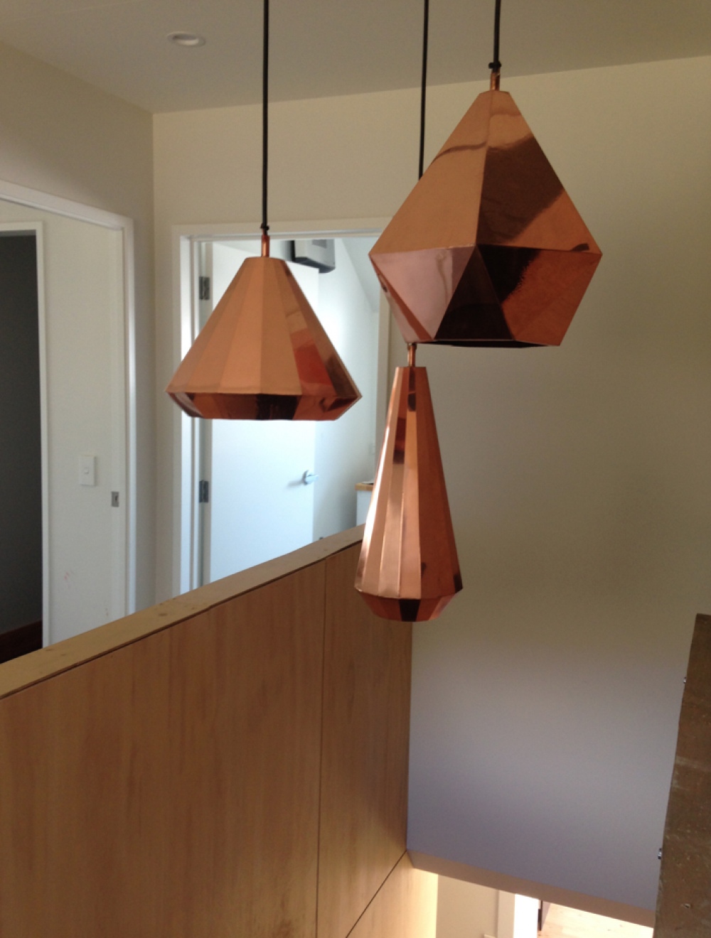 copper pendant lights stairway ply wall buildme co nz building