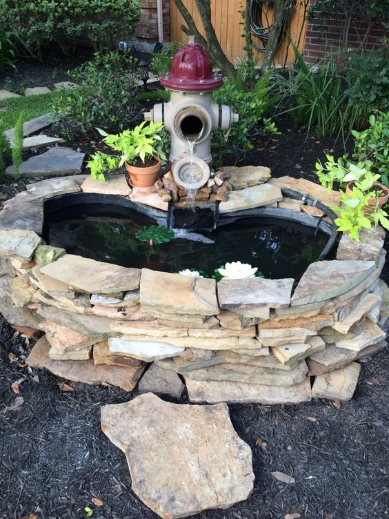 Fire Hydrant Fountain/homemade Small Water Garden.  Www.ContainerWaterGardens.net