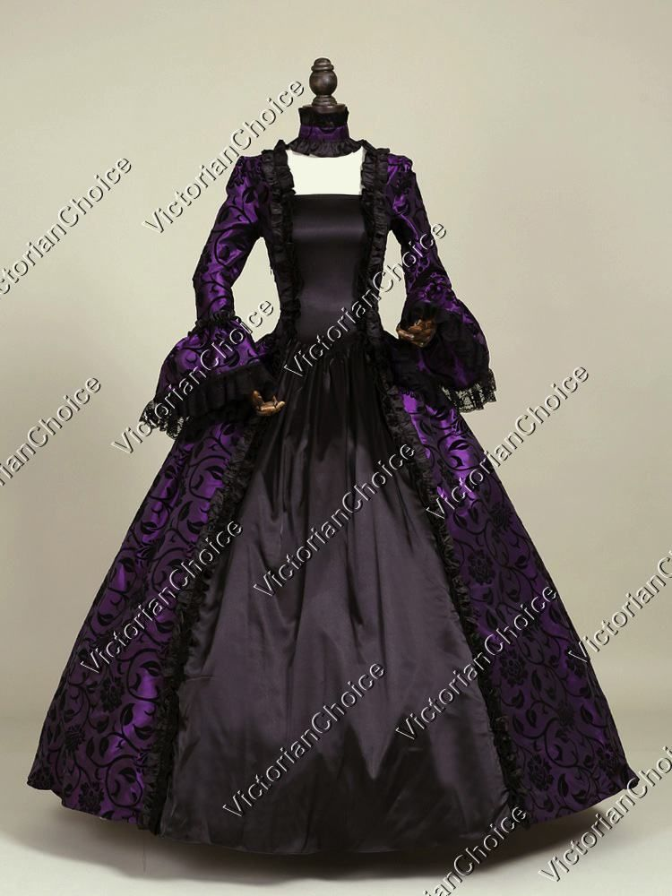 Victorian Gothic Dress Gown Sexy Witch Vampire Reenactment Halloween Costume 5946cf2a22f5