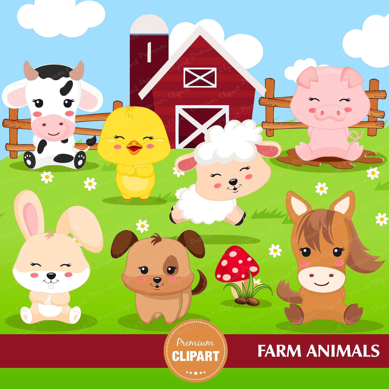 Farm Animal Clipart Farm Animal Birthday Party Farm Birthday Farm Party Clipart Ca357 By In 2021 Farm Animal Birthday Farm Animals Birthday Party Animal Clipart