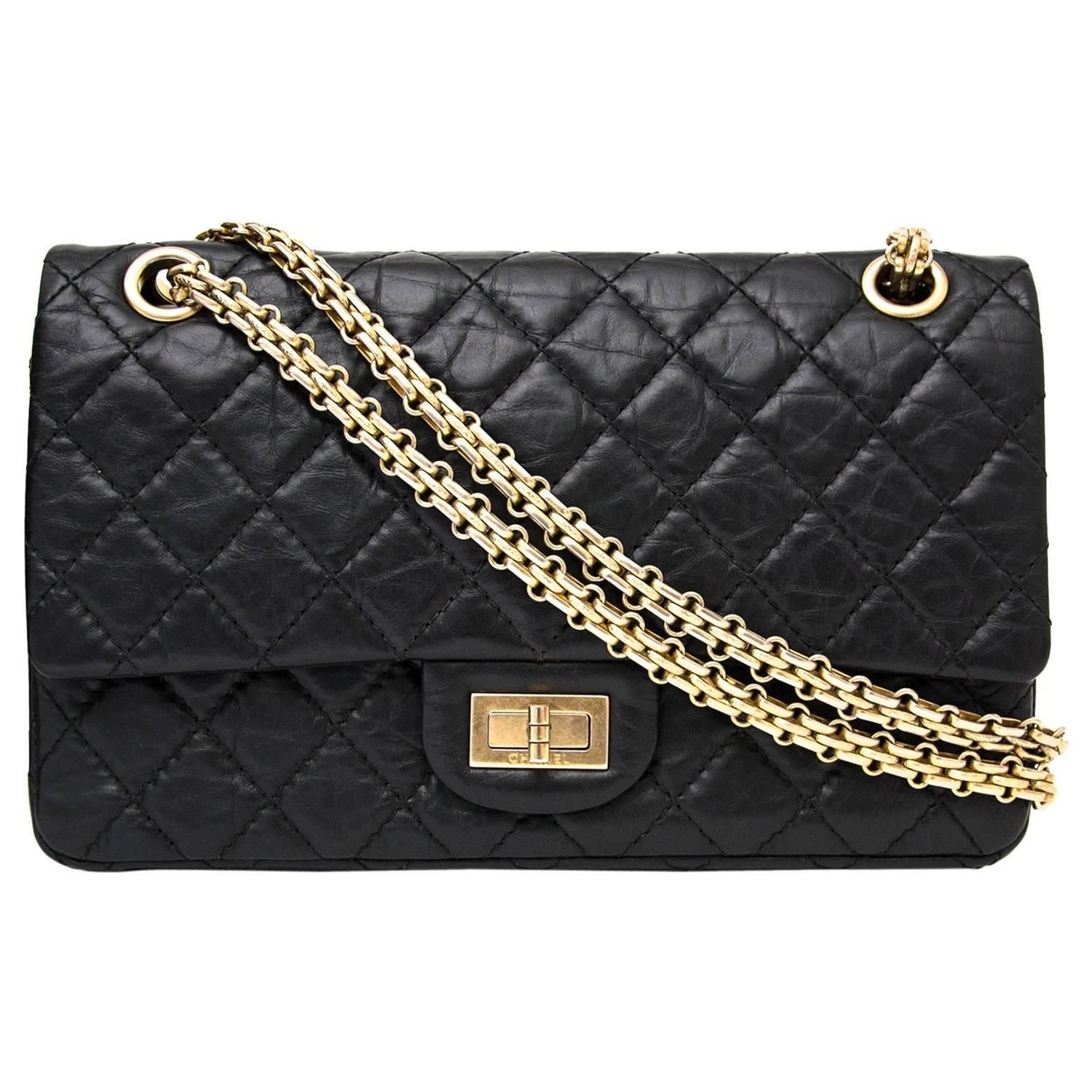 9d6bc2039 Chanel 2.55 Reissue 225 Double Flap Bag in Black | Current Closet ...
