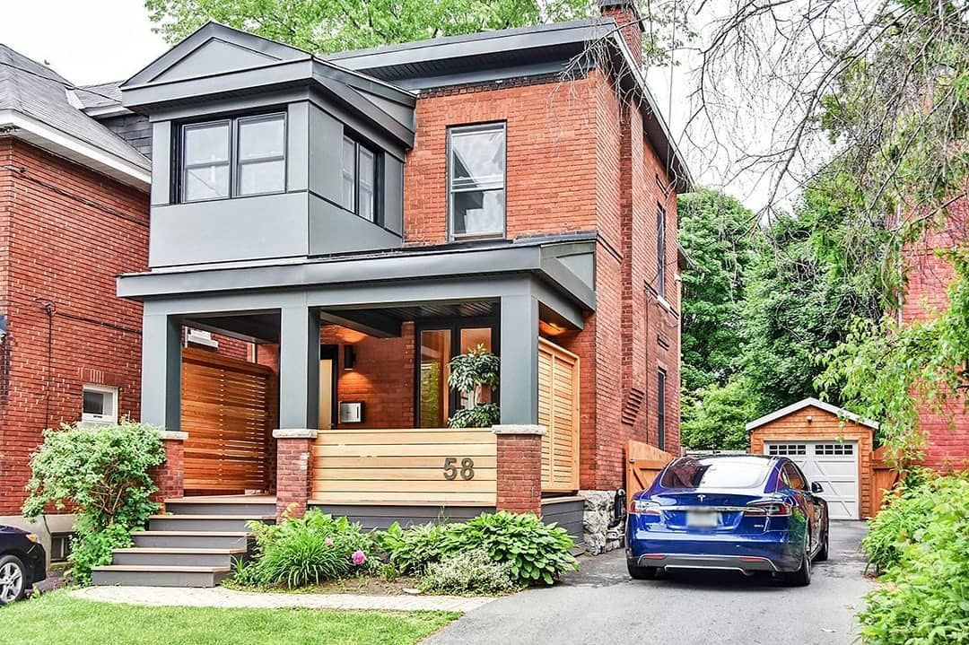 Modern porch on a red brick house exterior colour in - Exterior house color schemes with red brick ...