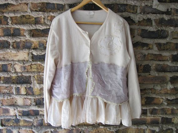 Romantic Black and White Cropped Sweater Lace Blouse Medium Upcycled emmevielle
