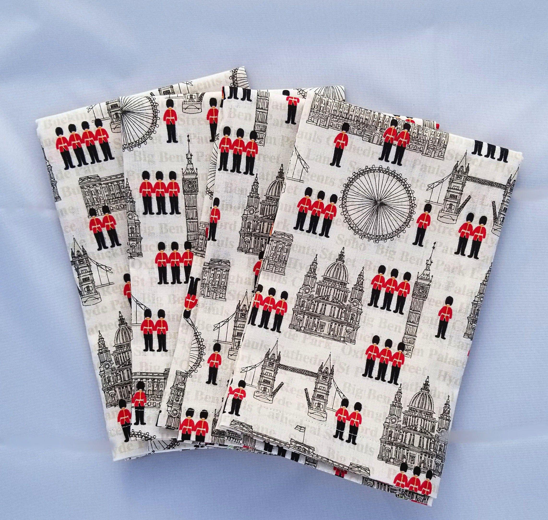 Cloth Napkins // Reusable // Lunchbox or Table Napkins // Everyday Napkins // Unpaper Towels // Set of 4 Napkins // London #clothnapkins