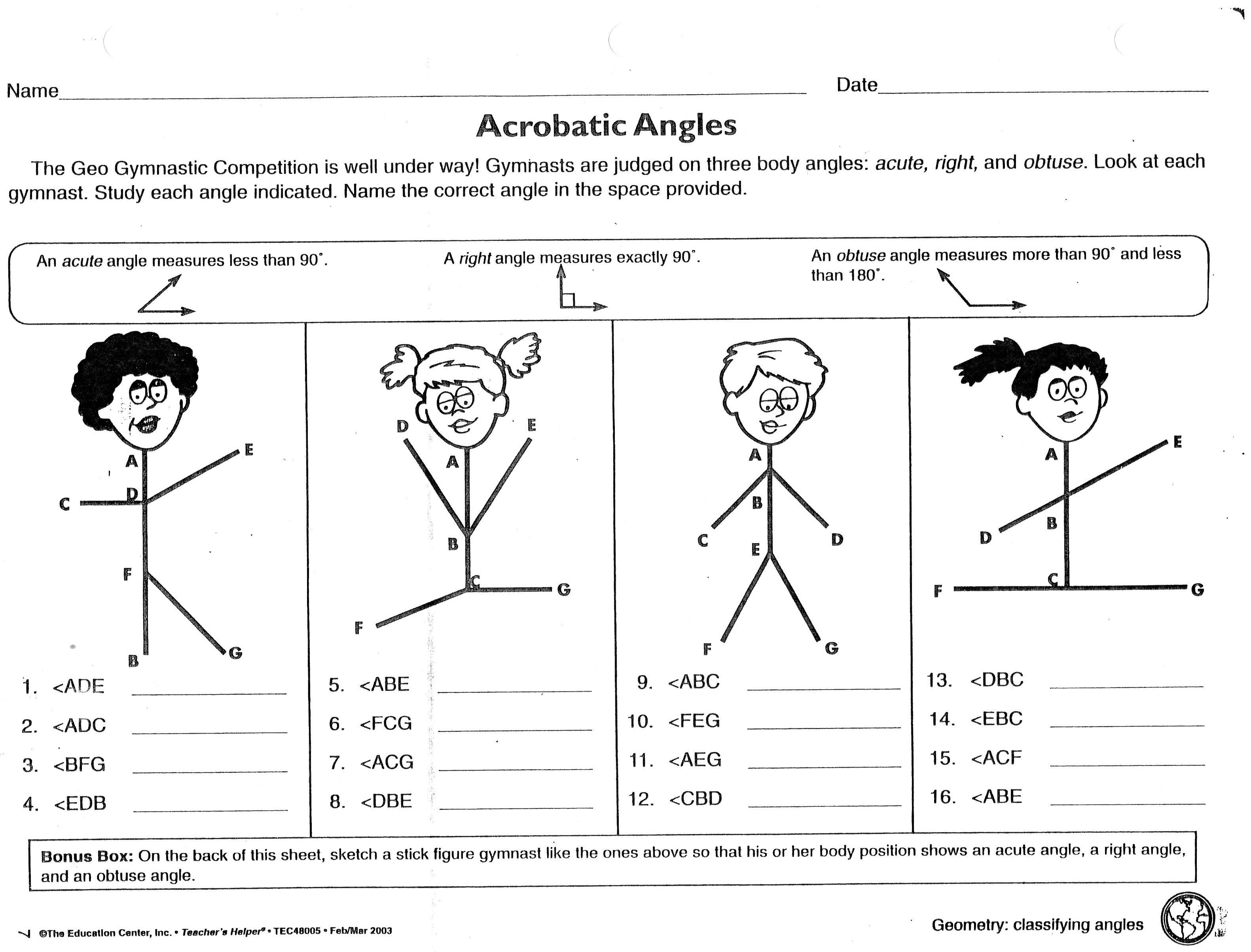 Acrobatic Angles Worksheet Obtuse Acute Right Michael Jordan Was Math Gr