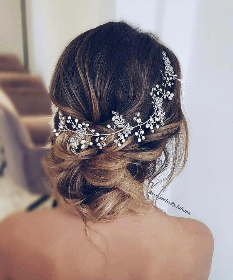 Wedding Hair Vine Bridal Hair Vine Wedding Headpiece Wedding Crown Rustic Wedding Crystal Hair Vine Pearl Hair Vine Extra Long Hair Vine