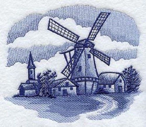 WINDMILL BLUE DELFT EMBROIDER SET 2 BATHROOM HAND TOWEL BY LAURA