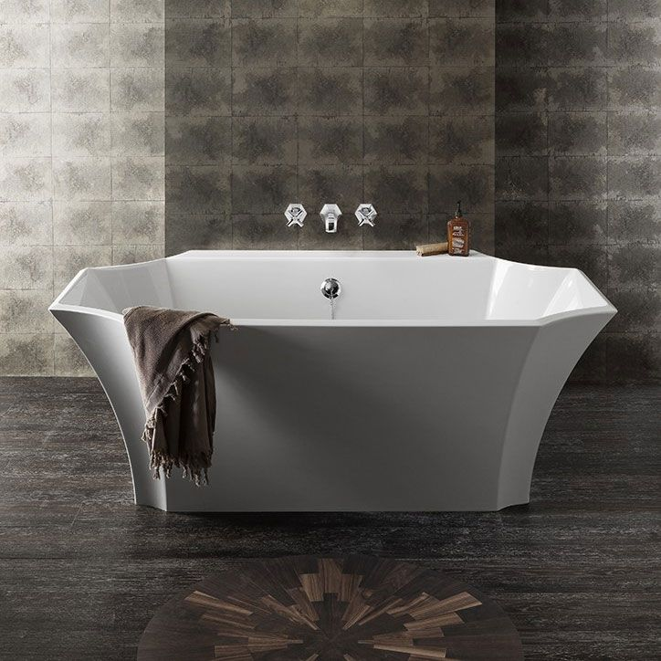 Bauhaus Waldorf Art Deco Back To Wall Double Ended Bath (1645 X 895mm)
