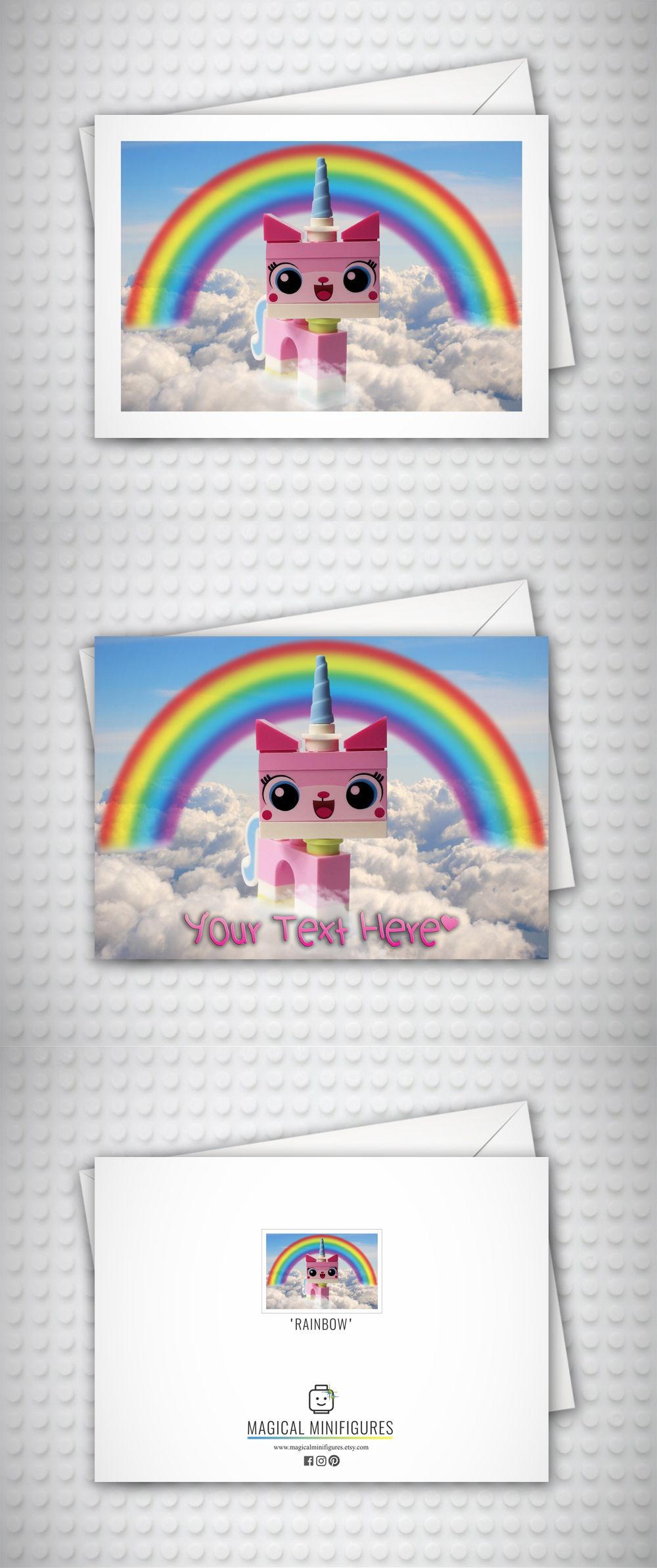 Unikitty lego minifigure card by magical minifigures this handmade