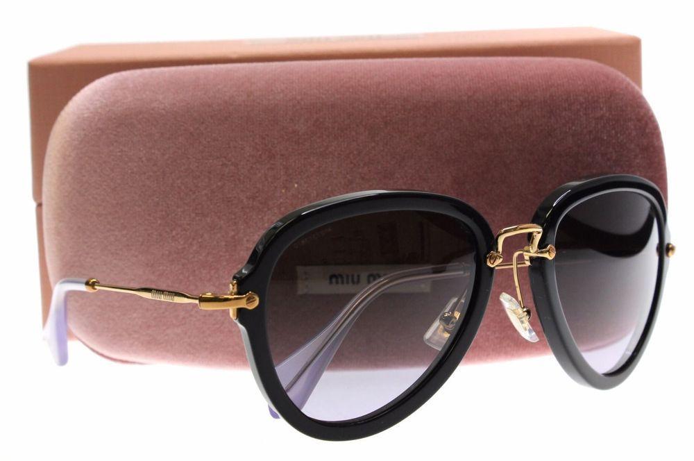 1b0d7ffac6 New Geniune Miu Miu MU03Q Womens Sunglasses Black Noir 55mm  MiuMiu  Aviator