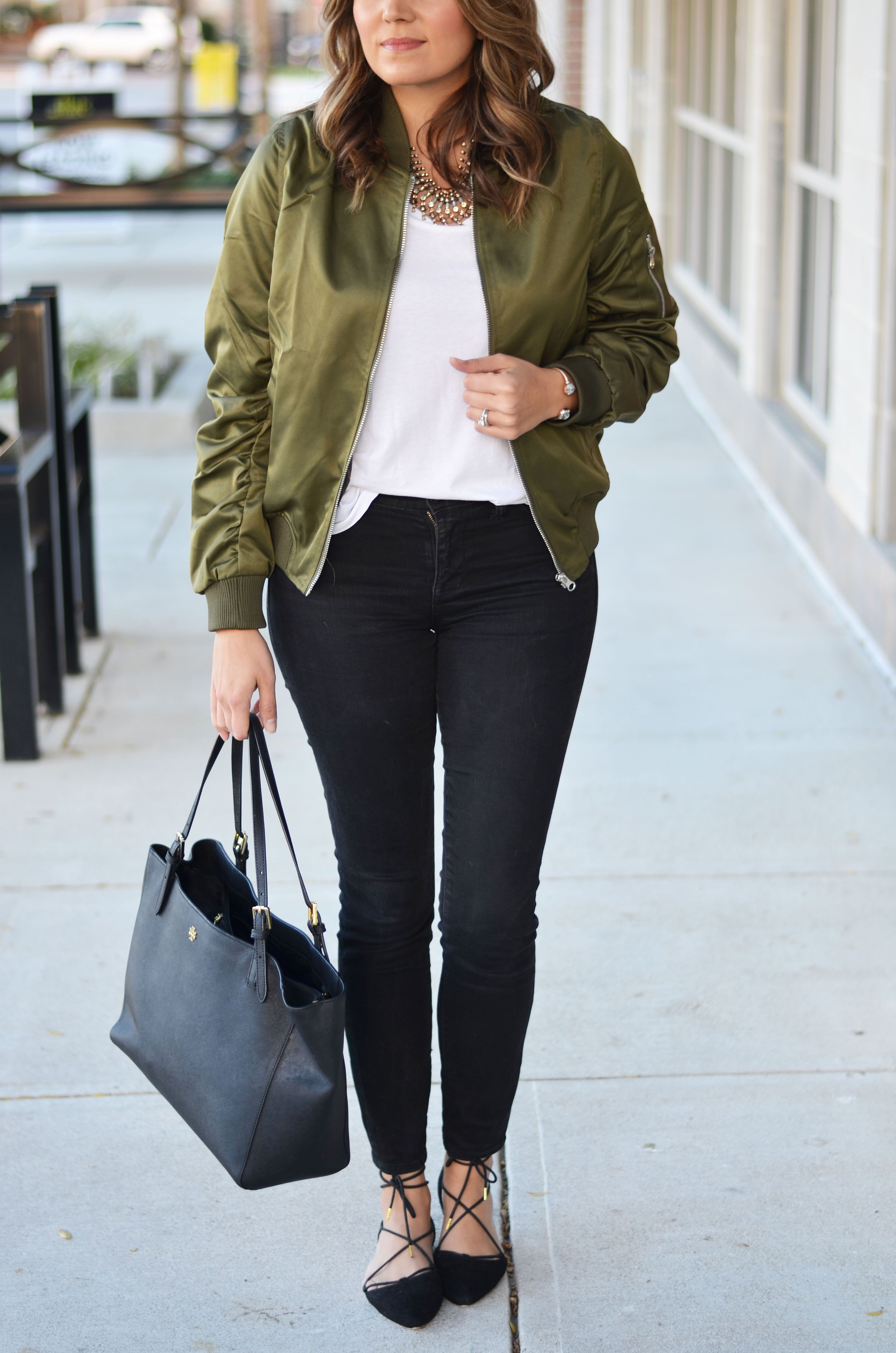 satin bomber jacket outfit idea - green bomber jacket with white ...