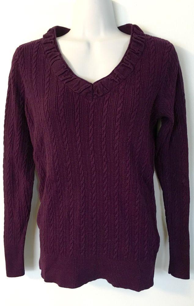 Chaps Cable Knit Vneck Sweater 2x size Purple Plum Womens Cotton Plus Stretch | eBay