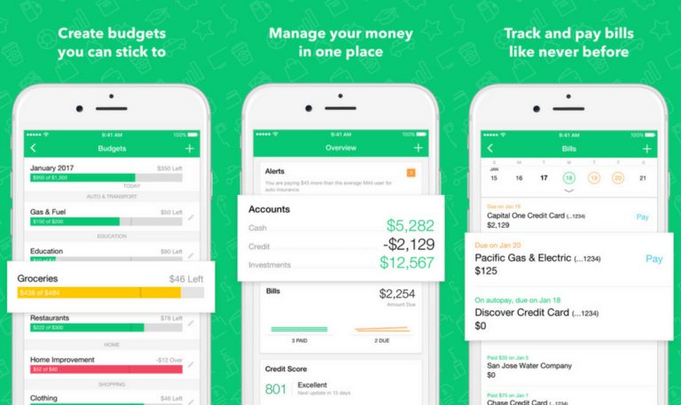 mint mobile app Managing your money, Paying bills