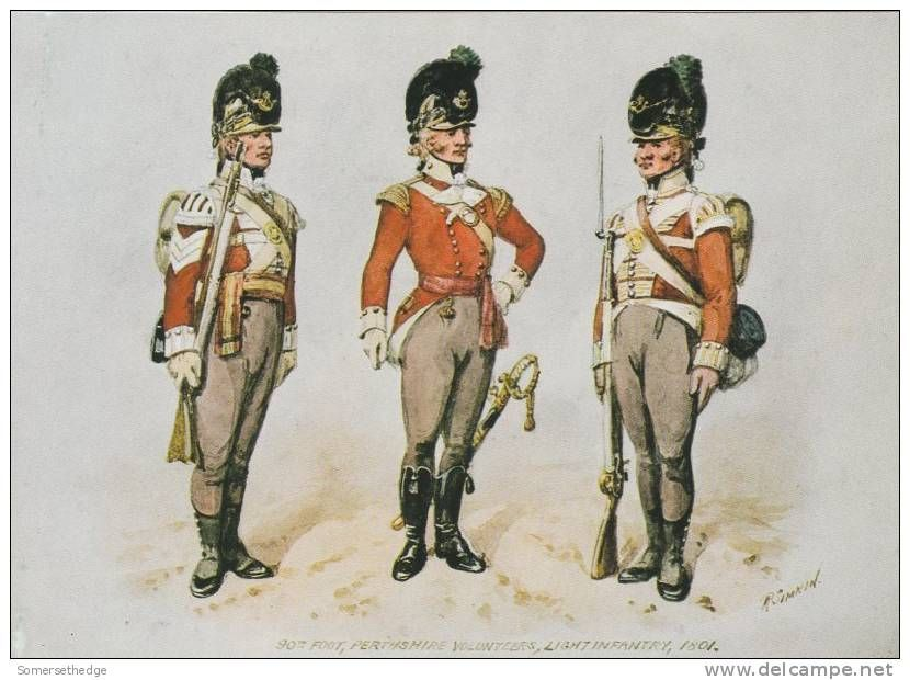 British; 90th(Perthshire Volunteers) Sergeant, Officer & Private 1801 by R.Simkin