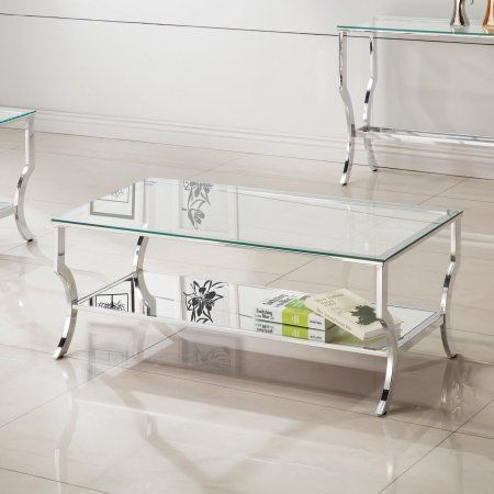 Coaster Company Coffee Table, Chrome and Tempered Glass, Clear is part of Silver Home Accessories Coffee Tables - Trust Coaster Company to bring you the highest quality products every time  Size 47 25 inchD x 23 5 inchW x 19 25 inchH  Color Clear  Age Group Adult