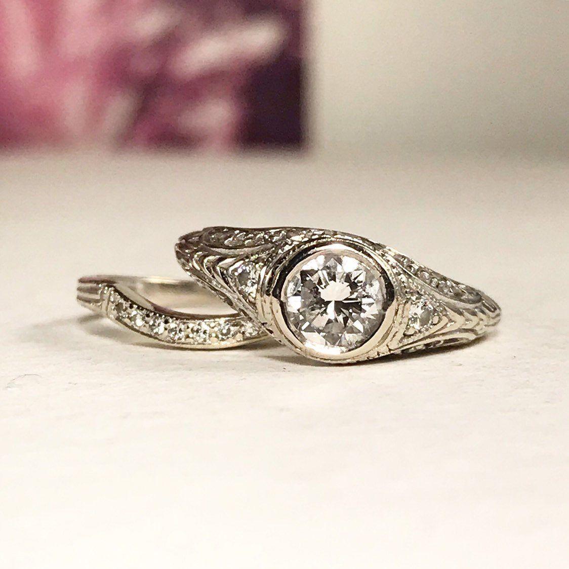 Photo of Art Deco 14K White Gold Diamond Bridal Set  / Art Deco Engagement Ring – size 5