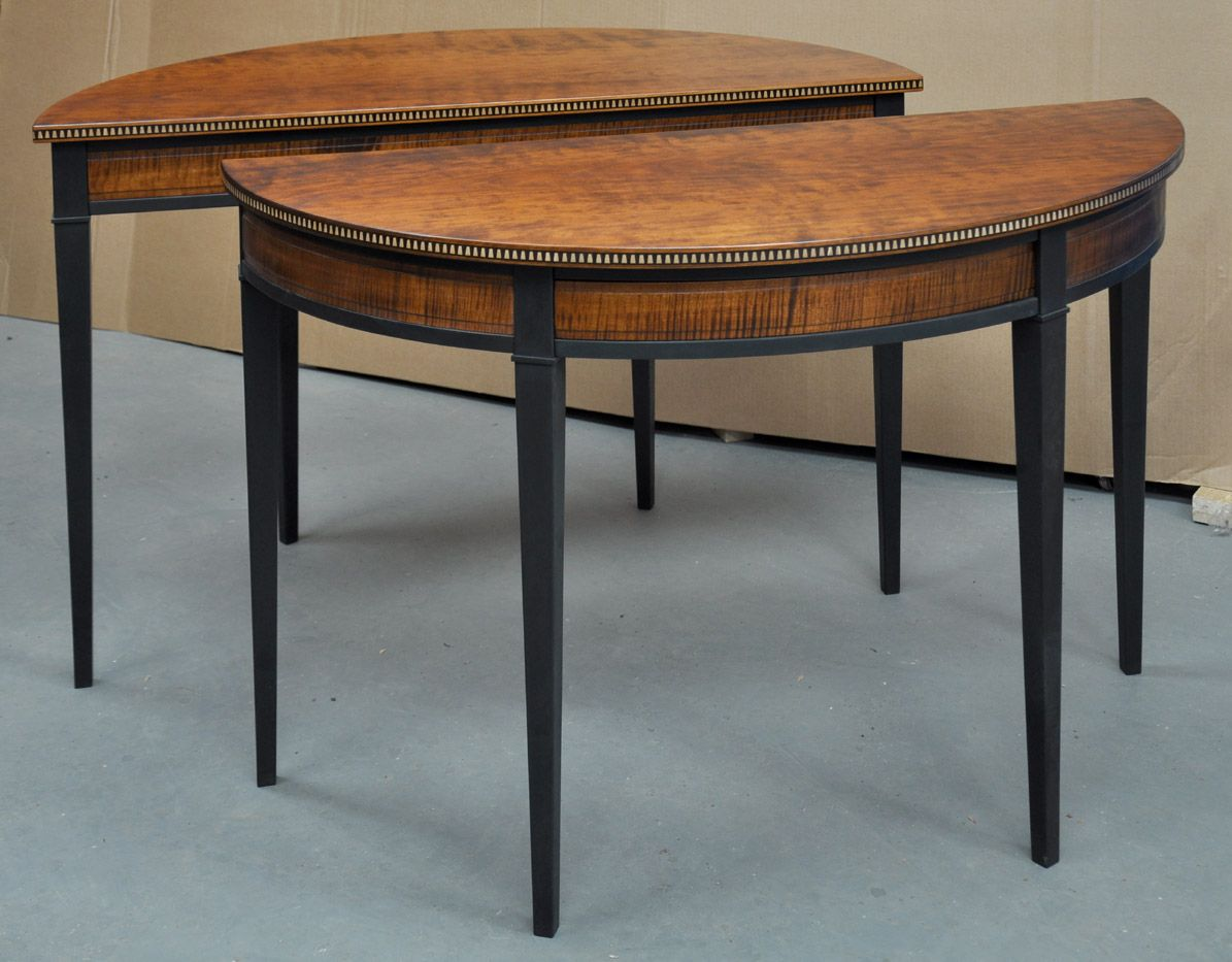 Superb The Nearly Completed Pair Of Half Oval Tables