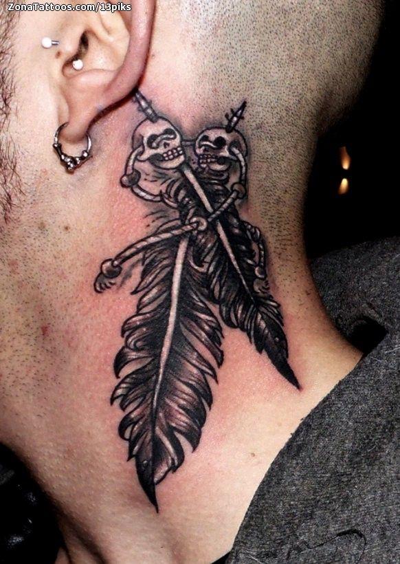 Tatuaje De Plumas Calaveras Cuello Zonatattoos Com En 2020 Tatuajes De Plumas Tatuaje De Plumas Tatuaje H