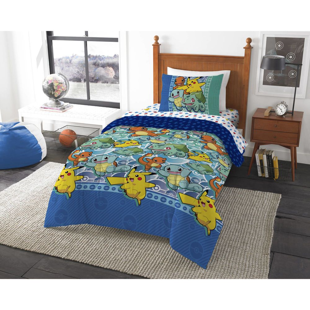 Pokemon First Starters 4 Piece Twin Bed In A Bag Comforter Bedding Set Xmas