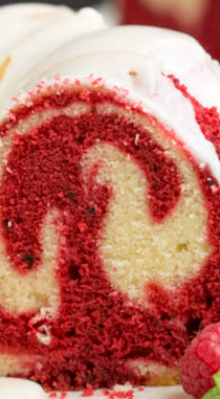 Vanilla Red Velvet Marbled Pound Cake ~ It's rich, dense, buttery, and decadent... The best of two desserts in one!