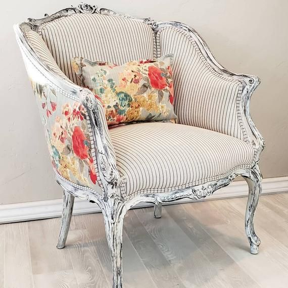 SOLD * Custom recreate* Antique farmhouse rustic chippy white accent chair in French ticking and vintage floral restored upholstered