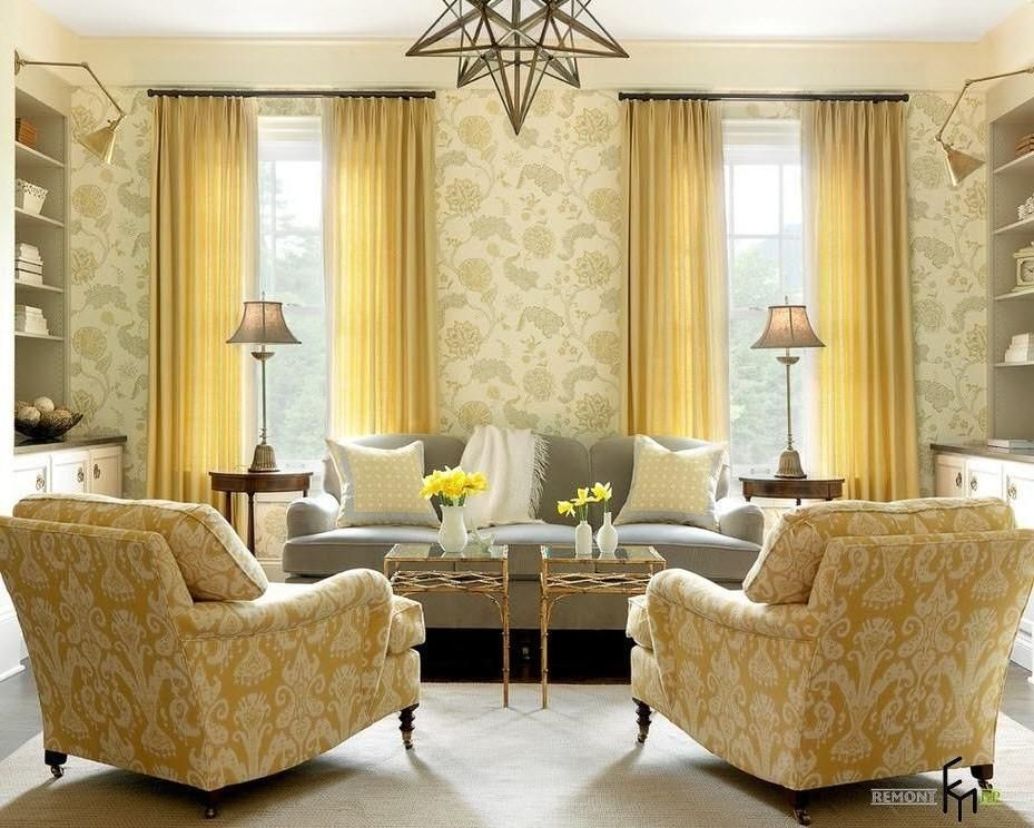 a breathtaking yellow flowery wallpaper idea for glamorous living ...