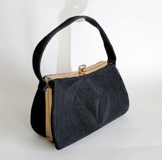 Vintage 1940s Handbag 40s 50s Corde Purse