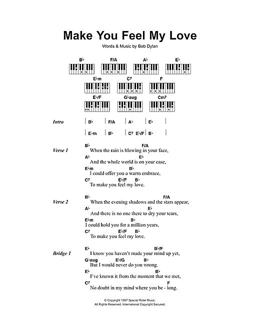 Make You Feel My Love by Adele Piano Chords/Lyrics Digital Sheet Music – Mariana Molina