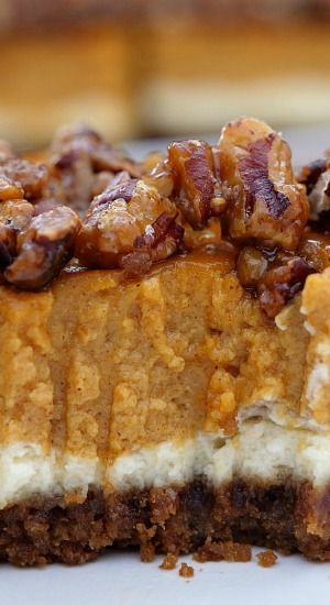 Cheesecake Pumpkin Bars are made with both cheesecake and pumpkin pie all in one delicious fall dessert then topped with candied pecans. #pecanpiecheesecakerecipe