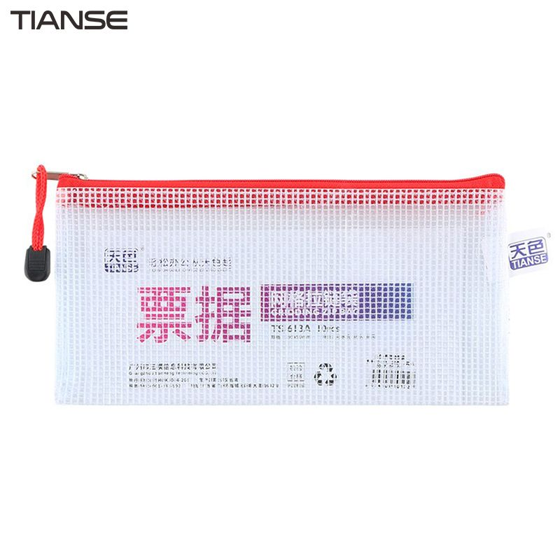 TIANSE 10pcs\/pack Thickened Translucent Grid Design Zipper File - how to design a receipt