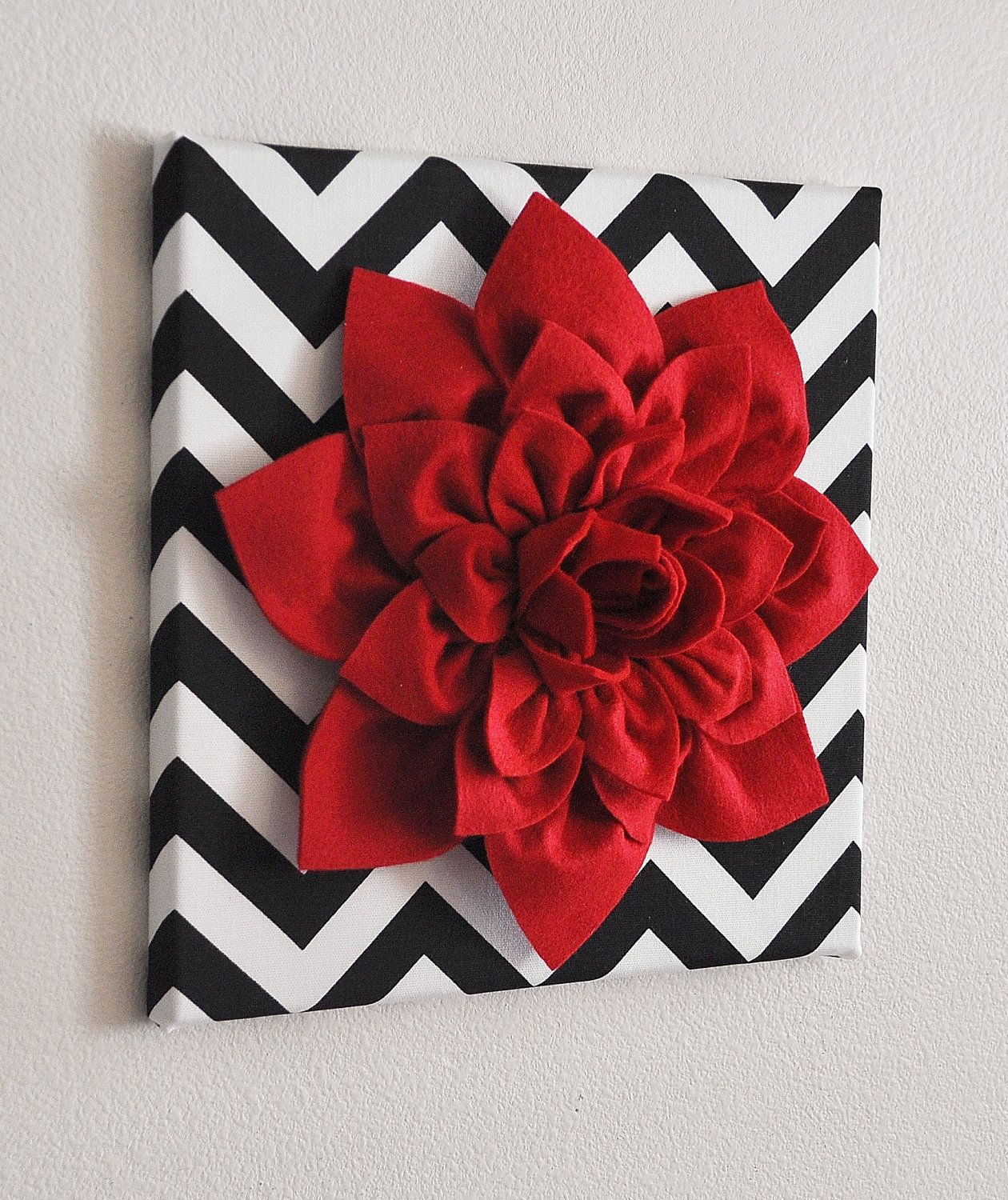 Red Wall Flower Dahlia On Black And White Chevron 12 X12 Canvas Art Baby Nursery Decor 34 00 Via Etsy