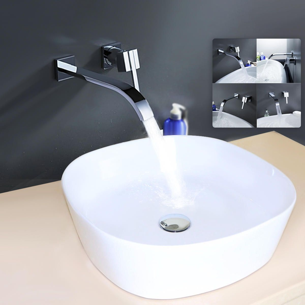 Wall Mount Waterfall Faucet Chrome Brass Single Handle Kitchen