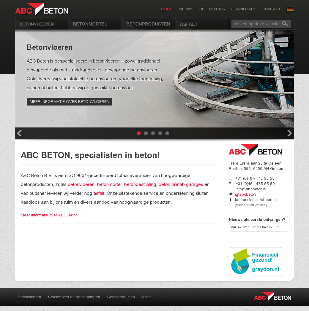 Website 'http://www.abcbeton.nl' ABC Beton.