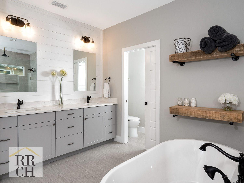 Image Result For Grey Shiplap Walls Bronze Bathroom Fixtures Tiny Bathrooms Bathrooms Remodel