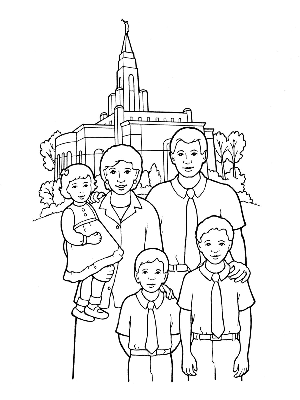 Family at the temple Family coloring pages Coloring